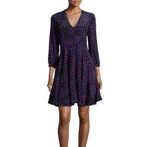 Rebecca Taylor Aster Silk Print A-line Dress